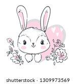 Stock vector cute bunny vector illustration print design rabbit children print on t shirt 1309973569