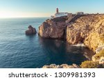 rocky coastline and lghthouse... | Shutterstock . vector #1309981393
