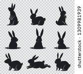 rabbit black silhouette. vector ... | Shutterstock .eps vector #1309981939