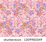 paradise birds in the floral... | Shutterstock .eps vector #1309983349