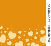 yellow hearts background design ... | Shutterstock .eps vector #1309985590
