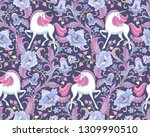 white unicorns in the floral... | Shutterstock .eps vector #1309990510