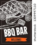 barbecue vector hand drawn... | Shutterstock .eps vector #1309997110