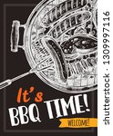 barbecue vector hand drawn... | Shutterstock .eps vector #1309997116
