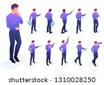 isometric set of poses and...   Shutterstock .eps vector #1310028250