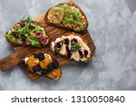 diet breakfast. toasts with... | Shutterstock . vector #1310050840