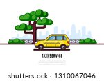 taxi car parking along the city ... | Shutterstock .eps vector #1310067046
