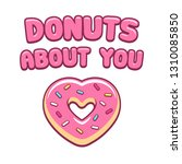 heart shaped pink donut with...   Shutterstock .eps vector #1310085850
