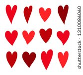 red hearts set. symbol of... | Shutterstock .eps vector #1310086060