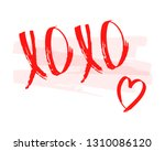 xoxo phrase with heart  pink... | Shutterstock .eps vector #1310086120