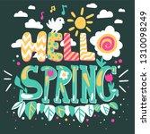 hello spring cartoon vector...   Shutterstock .eps vector #1310098249