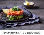 raw salmon  avocado purple... | Shutterstock . vector #1310099503