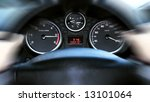 car panel instrument speedometer and tachometer (shallow dof) - stock photo