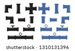pipe fittings vector icons set. ... | Shutterstock .eps vector #1310131396