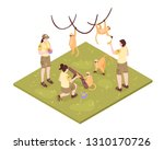 isometric zoo workers... | Shutterstock .eps vector #1310170726