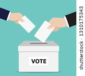 hand putting voting ballot into ... | Shutterstock .eps vector #1310175343