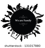 frame with family silhouettes. | Shutterstock .eps vector #131017880
