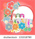 background with owl and flowers....   Shutterstock . vector #131018780