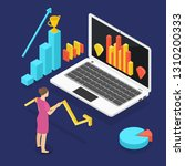 growing statistics graph.... | Shutterstock .eps vector #1310200333