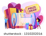 Stock vector lucky tiny people turning raffle drum with tickets and winning prize gift boxes prize draw online 1310202016