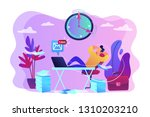Stock vector procrastinating businessman sitting with legs on office desk postponing work procrastination 1310203210