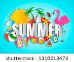 summer concept with word  paper ... | Shutterstock .eps vector #1310213473