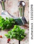 chopping a bunch of fresh... | Shutterstock . vector #131022098