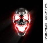Screaming Metal Skull Glowing...