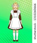 soviet girl  schoolgirl in... | Shutterstock .eps vector #1310260666