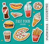 fast food stickers set on blue... | Shutterstock .eps vector #1310285983