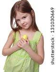 Pretty Little Girl Holding A...