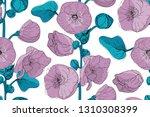 art floral vector seamless...   Shutterstock .eps vector #1310308399