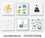 doodle hand drawn dinosaurs... | Shutterstock .eps vector #1310315266