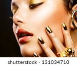 fashion girl portrait. gold... | Shutterstock . vector #131034710