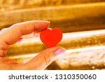 little heart in a woman's hand | Shutterstock . vector #1310350060