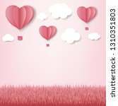 paper hearts with cloud pink... | Shutterstock . vector #1310351803