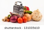 vegetables and grater isolated... | Shutterstock . vector #131035610