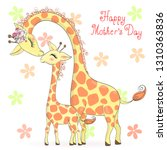 Stock vector two hand drawn cute giraffe girls happy mothers day vector illustration 1310363836