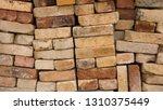 beige tone bricks stacked on... | Shutterstock . vector #1310375449