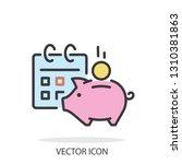 financial calendar  piggy bank... | Shutterstock .eps vector #1310381863