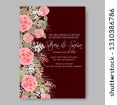 wedding invitation floral...   Shutterstock .eps vector #1310386786