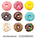 lots of delicious donuts flying ... | Shutterstock . vector #1310408350