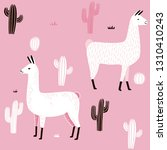 llama seamless pattern with... | Shutterstock .eps vector #1310410243