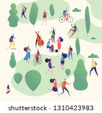 musicians in park. music band... | Shutterstock .eps vector #1310423983