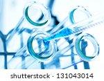 test tubes closeup on blue... | Shutterstock . vector #131043014