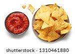 Corn Chips Nachos And Salsa...