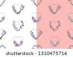 set of hand drawn seamless... | Shutterstock .eps vector #1310475716