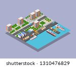 isometric port cargo ship cargo ... | Shutterstock .eps vector #1310476829