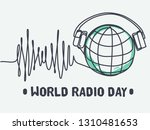 world radio day flat cartoon... | Shutterstock .eps vector #1310481653