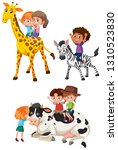 children riding on animals... | Shutterstock .eps vector #1310523830